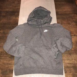 NIKE Funnel Neck Gray Pull Over Hoodie/Sweatshirt